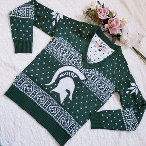 Michigan State Spartans Ugly Christmas Sweater Gre